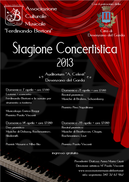 """Stagione concertistica 2013 Associazione Musicale """"F. Bertoni"""" Desenzano del Garda"""